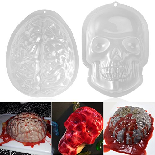 Halloween Jello Molds (PBPBOX 2 Pack Halloween Brain Gelatin Mold Plastic Zombie Brain Jello Mold for Halloween Party Supplies)
