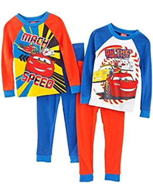 Little Boys' Cars Long Sleeve 4 Piece Cotton Pajama Set, Sizes 12M-4T