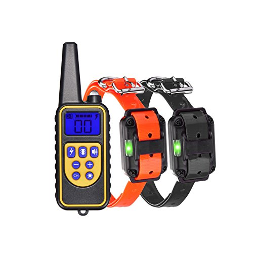 No Digging (Waterproof Dog Shock Collar 540yd Remote Training Collar 4 in 1 Functional Light/Beep/Vibration/Shock Electric No Bark Collar for All Size Dogs (10Lbs - 100Lbs) (2 Receiver and 1 Remote)(2 Collars))