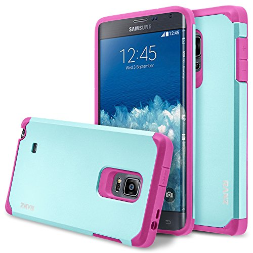 Galaxy Note Edge Case, RANZ Hot Pink with Aqua Blue Hard Impact Dual Layer Shockproof Bumper Case For Samsung Galaxy Note Edge