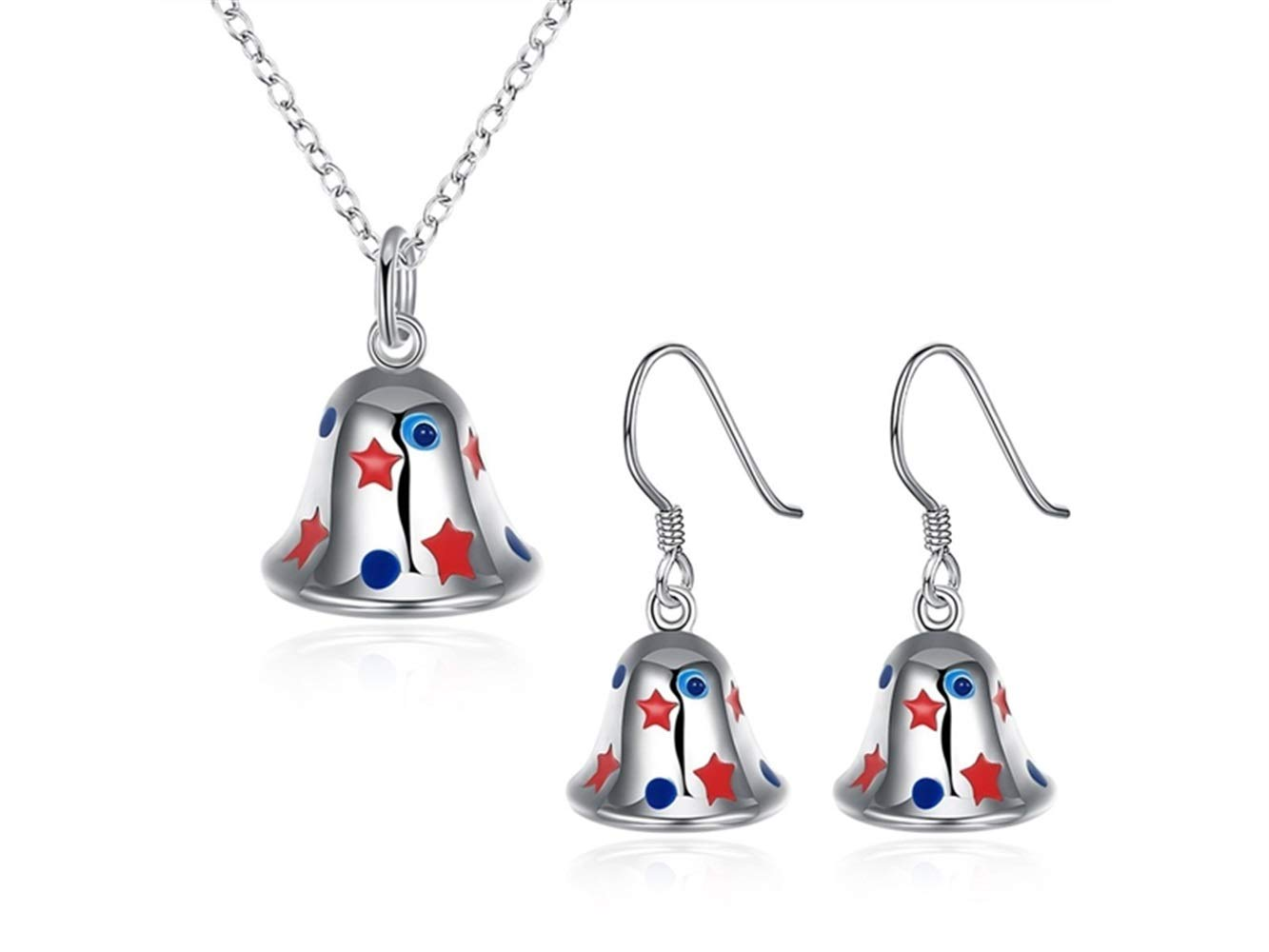 Yuchoi Girl Jewelry Bell Pendant Necklace Earrings Set Christmas Jewelry Decoration(Silver)
