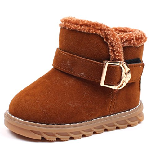 Hoxekle Toddler Kids Snow Boots Anti-slip Tendon Velcro Thickening Outdoor Little Boys Girls Winter Boots Brown 5 M US (Ugh Boots Kids)