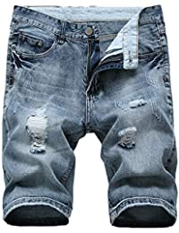 Mens Skinny Ripped Destroyed Distressed Jeans Denim Shorts
