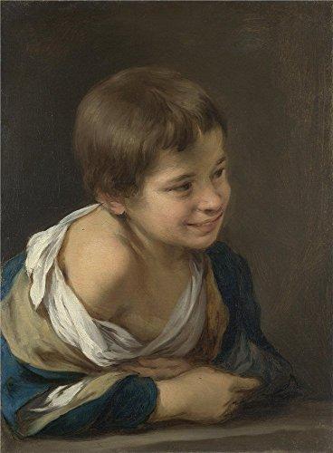 bartolom-esteban-murillo-a-peasant-boy-leaning-on-a-sill-oil-painting-10-x-14-inch-25-x-35-cm-printe