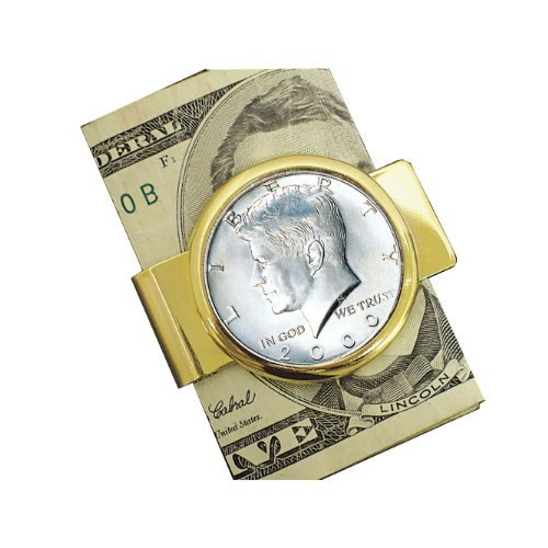 Coin Money Clip - JFK Half Dollar | Brass Moneyclip Layered in Pure 24k Gold | Holds Currency, Credit Cards, Cash | Genuine U.S. Coin | Includes a Certificate of Authenticity (We Hold A Treasure Not Made Of Gold)