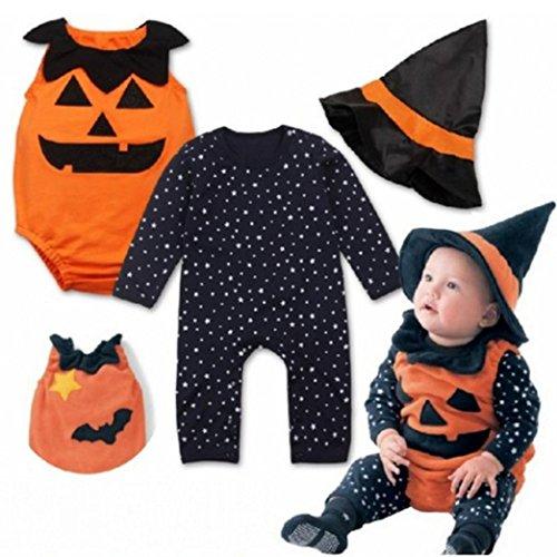 Newborn Halloween Infant Baby Boy Girl 3pcs Striped Monster Romper + Pumpkin Vest + magical Hat Halloween Outfits Costume Set Raptop (0-6 Months, Black)