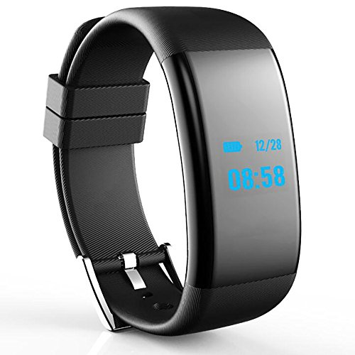 Price comparison product image Bluetooth 4.0 Smart Bracelet,  Waterproof Smart Wristband Fitness Tracker with a Pedometer Step Counter Distance Counter Sleep Monitor Call / SMS Reminder Heart Rate Tracker Blood Pressure Watch (Black)