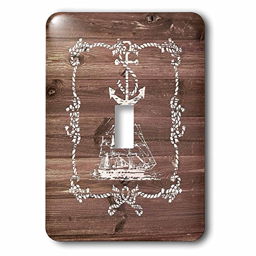 3dRose Russ Billington Nautical Designs - White Ship Anchor and Rope on Brown Weatherboard- Not Real Wood - Light Switch Covers - single toggle switch (lsp_261835_1)