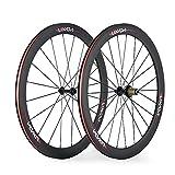 Lixada 50mm 700C Clincher Wheels 3K Full Carbon Fiber 23mm Width Road Bike Wheelset 8/9/10/11 Compatible Speeds 20/24 Holes