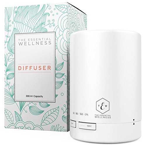 The Essential Wellness 300ml Essential Oil Diffuser & Ultrasonic Cool Mist Humidifier for Aromatherapy - 7 Color LED Lights & 4 Timer Settings and up to 8-10 Hours Diffusing - Auto Shut Off - BPA Free