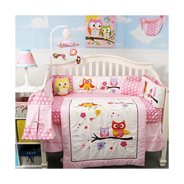 SoHo Baby Crib 10Pc Bedding Set, Pink Owl