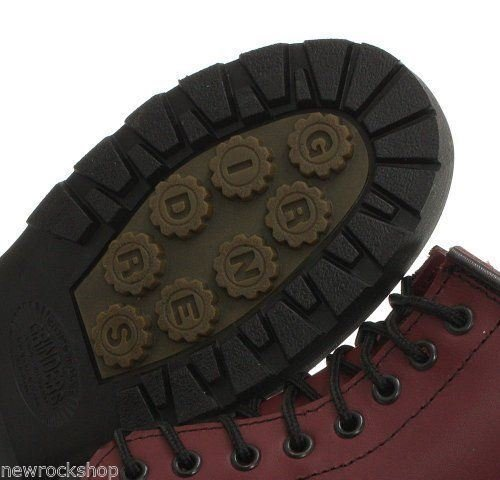 Grinders Cedric Red Cherry Leather Combat Boots 8 Eyelet Derby Boot Punk 1VhtQDwBX1