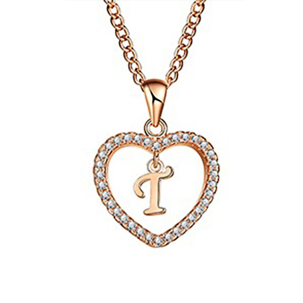 Wintefei Concise Hollowed Heart Alphabet Unisex Necklace Jewelry Neck Chain Pendant Decor - Golden T