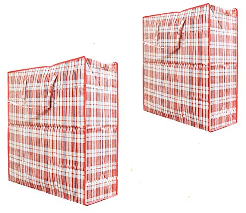 anselynn Laundry Bags Set of 2 Large Plastic Checkered Storage Laundry Shopping Bags with Zipper and Handles!Great for Travel,Laundry,Shopping,Storage,Moving! 23x23x5.7/18x19x4.7(Red)