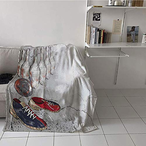 (Khaki home Children's Blanket Spring Warm All Season Blanket for (35 by 60 Inch,Bowling Party Decorations,Bowling Shoes Pins and Ball Artistic Grunge Style,Light Grey Red Dark Blue)