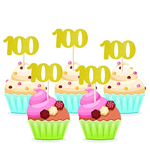 Homy Feel 48 Pieces 100 Number Gold Glitter Birthday Cupcake Toppers,100th Cupcake Picks Mini Cake Decorations for Birthday Party Supplies]()