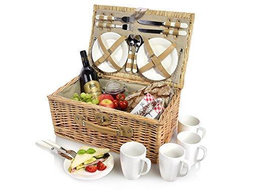 Snger-Picknickkorb-aus-Weidengeflecht-Innenseite-aus-Stoff-in-Beige-Der-Weidenkorb-beinhaltet-Teller-Besteck-und-Tassen-fr-4-Personen