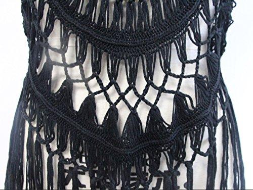 Hrph Verano del bikini de ganchillo Cover Up Cover Up vestido de la playa del bañador del traje de baño de las mujeres de punto Negro