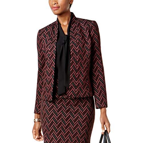 Kasper Women's Zig Zag Knit Jacquard Flyaway Jacket, Merlot Multi, 6