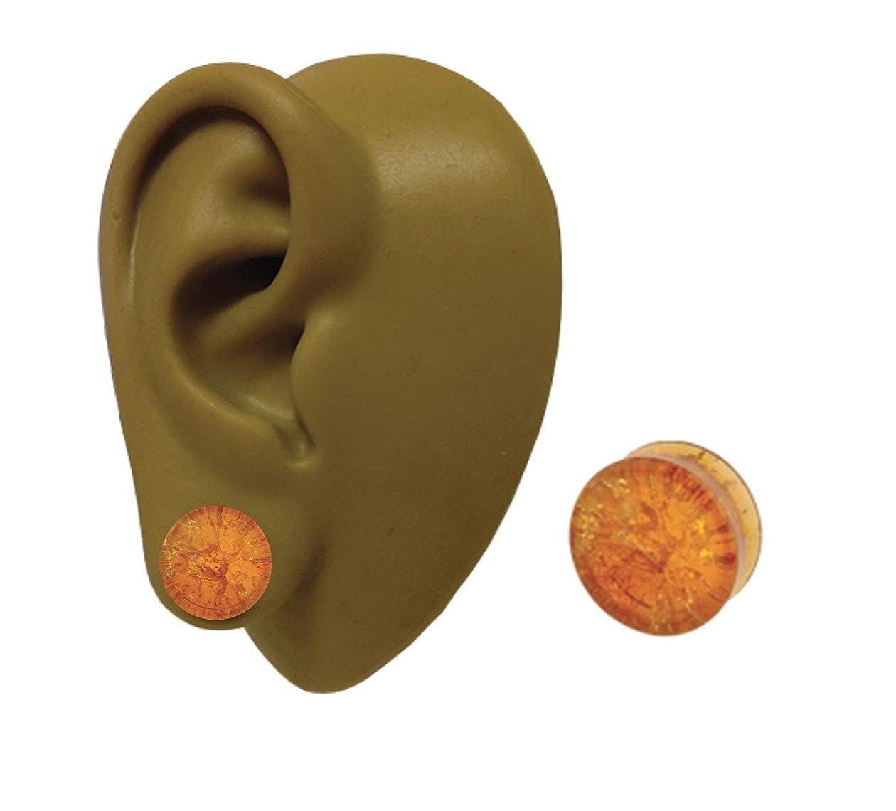 Una - 12 mm - 1,27 cm - ámbar Piedra Topacio del oído del enchufe doble llamarada orgánico del túnel de la carne del ensanchador del pendiente: Amazon.es: ...