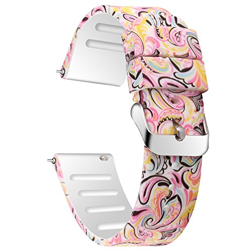 JIELIELE for 20mm Quick Release Sport Watch Bands, Soft Rubber Replacement Band Straps (Painting, 20mm)