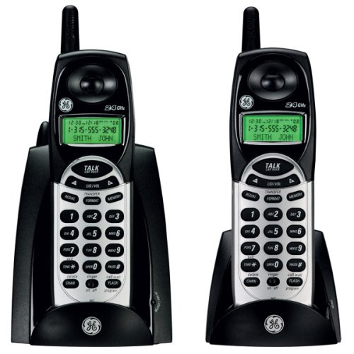 GE Cordless 2.4Ghz 27831FE2 Phone with Dual Handsets and Call Waiting Caller ID - Black