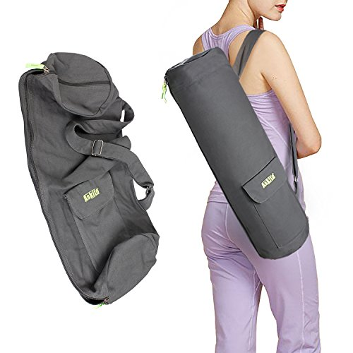 ASKITO Yoga Mat Bag for Yoga Lovers w/2 Expandable Pockets,Sturdy Canvas,Smooth Zippers - Fits Most Size Mats