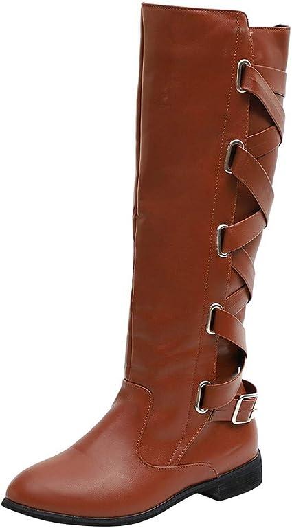 ALISIAM Botas de mujer Correa cruzada de invierno Rodilla larga de nieve Botas altas Zapatos de vaquero Cremallera de punta redonda Zapatos planos al aire libre Botas cálidas: Amazon.es: Belleza