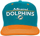 NFL Youth Boys Retro Bar Script Flatbrim Snapback Hat-Aqua-1 Size, Miami Dolphins