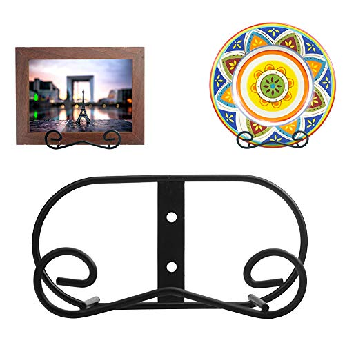 (2 piece) Black Metal wall Mount Display Easel Horizontal Plate Rack Plate Hanger Vertical Plate Stand Holders Picture frame Stand for Wall-Medium (Decorative Hanging Wall For Plates)