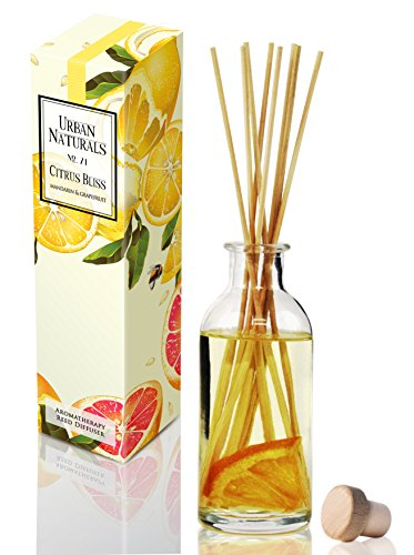 Urban Naturals Citrus Bliss Mandarin Orange & Grapefruit Scented Oil Reed Diffuser | Essential Oil Gift Set w/Real Orange! | Fresh Fragrance