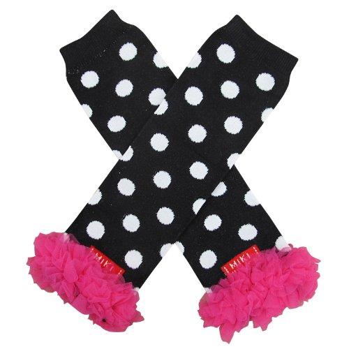 So Sydney Baby Toddler Girl Polka Dot Tutu Chiffon Ruffle Leg Warmers … (White on Black with Hot Pink) -