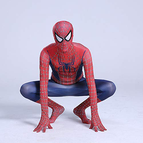 QXMEI Spiderman Costume Bodysuit Tights Halloween Character Dress Up Adult Anime Performance Costume,Red-130