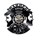 Handmade Solutions EU Barber Shop Sign Logo 12'' Vinyl Record Wall Clock - Hair Professional Stylist Gift