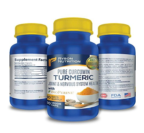 Turmeric Curcumin 1300mg Enhanced Dose. Premium support for the Health of Joints & Nervous System. Enhanced absorption by BioPerine® (Black Pepper extract). High purity 95% Standardized Curcuminoids