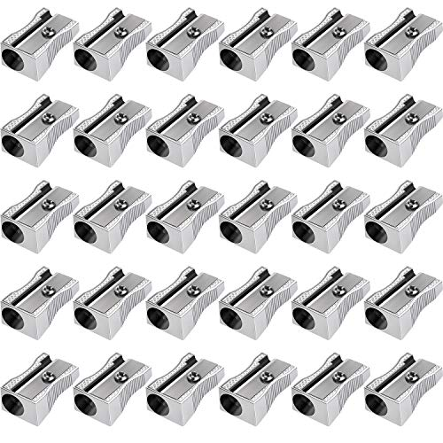 Frienda 48 Pack Metal Mini Pencil Sharpeners Silver Single Hole Aluminum Alloy Handheld Sharpener Manual Pencil Sharpeners for Standard Size Pencils