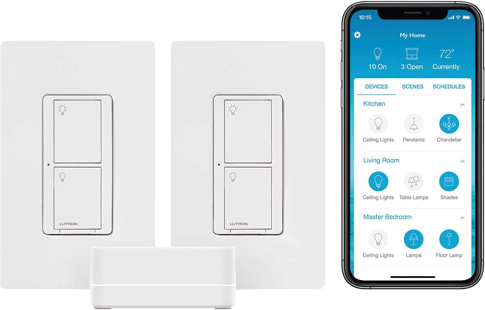 Lutron Caseta Smart Start Kit, Smart Switch (2 Count) with Smart Bridge | Works with Alexa, Apple HomeKit, and the Google Assistant | P-BDG-PKG1SW | White
