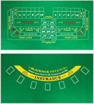 """Brybelly Double-Sided Craps Table & Blackjack Casino Felt   Convenient, Space-Saving 36"""" x 18"""" R"""