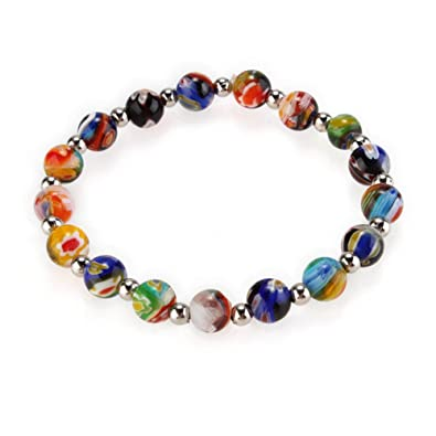 78628a371c3ad Multicolor Millefiori Lampwork Glass Bracelet Fashion 0.31