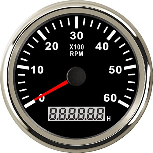 Samdo 85MM Waterproof Marine Tachometer Car Truck Boat Tachometer Gauge With Hour Meter 6000 (Marine Tachometer)