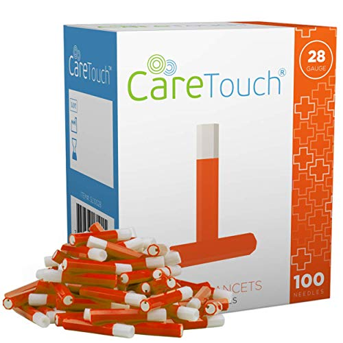 Care Touch Safety Lancets - 100 Lancets, 28 Gauge - Diabetic Supplies for Blood Glucose Testing, No Lancing Device Needed (Best Diabetic Testing Supplies)