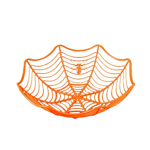 NiceWave Spider Web Fruit Plate Halloween Decoration Creative Candy Biscuits Fruit Basket Candy Bowl Halloween Party Decoration (Orange) -