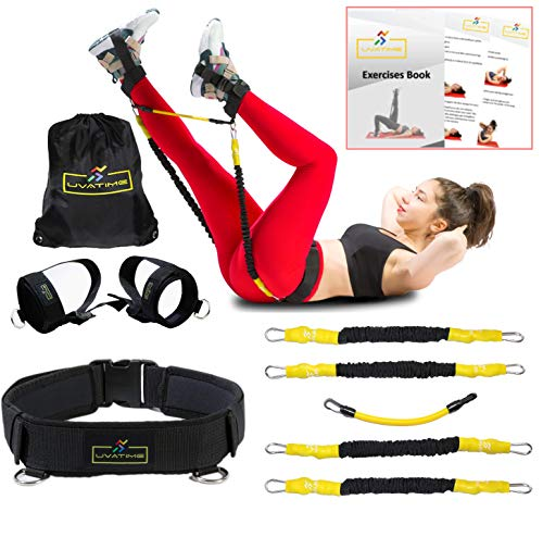 UVATIME Belt with Booty Resistance Bands | Workout Bands for Legs and Butt | Leg Ankle Band and Vertical Jump Trainer | Kinetic Bands | 4 Exercise Bands Adaptable Levels | Exercises Book (Best Vertical Jump Program)