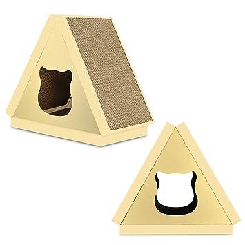 Klerokoh Casa de Gatos Fresca y Transpirable Use Cat Scratch Board Triangle Pet Nest (Color : Pattern): Amazon.es: Hogar