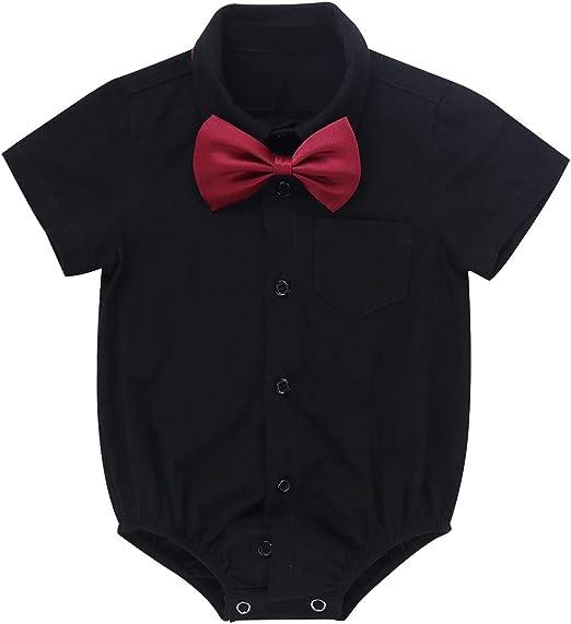 Toddler Infant Baby Boys Gentleman Short Sleeve Solid Bodysuit Romper Clothes