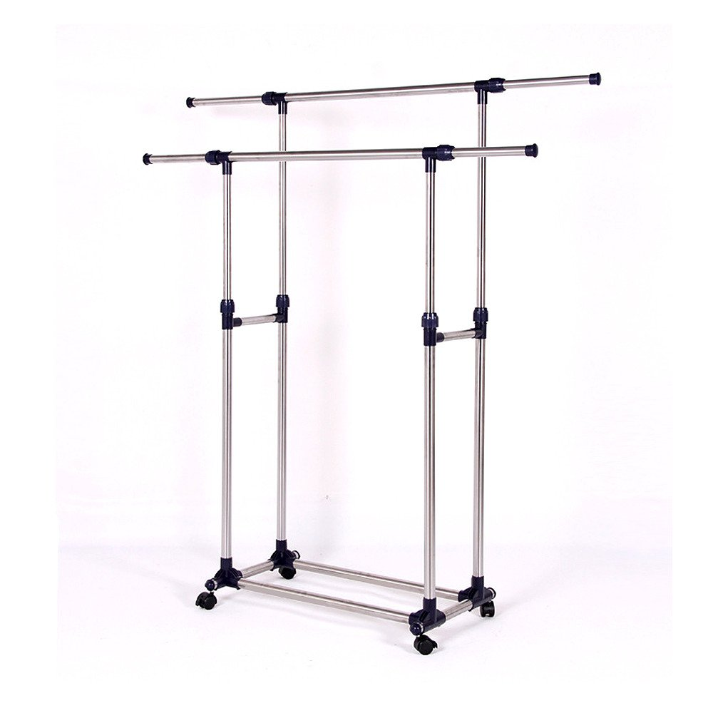 Sonmer Premium Heavy Duty Double Rail Adjustable Telescopic Rolling Clothing and Garment Rack