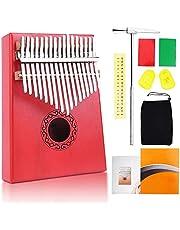 17 Key Thumb Piano Kalimba, craftsman168 Solid Finger Piano Hoge Kwaliteit Mahonie Professioneel Instrument met Draagbare Case en Duim Bescherming voor Muziek Liefhebber Beginners (Blauw) Rood