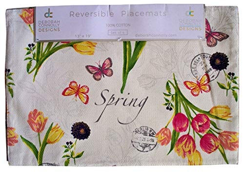 (Deborah Connolly Placemats Place Mats Spring Floral Design Pink Yellow Purple Flowers Tulips on Ecru Off White Background)