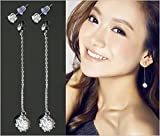 Suyi Elegant Shining Clear Crystal Double Uses Ear Studs Exquisite Crystal Drop Earrings