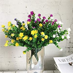CQURE Artificial Flowers, Fake Flowers Artificial Greenery UV Resistant Plants Eucalyptus Outdoor Bridal Wedding Bouquet for Home Garden Party Wedding Decoration 5 Bunches (Yellow) 3